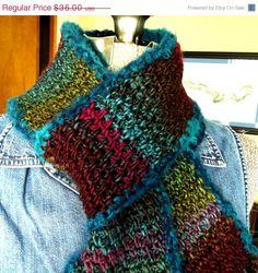 ON SALE Crochet Multicolor Scarf Wooly by WildHeartYarnings
