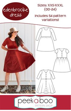 Edenbrooke Dress - Peek-a-Boo Pattern Shop perfect dress for any day of the week. Features a lined bodice and lots of mix and match option. Frock Fashion, Suit Fashion, Wedding Dress With Pockets, Dress Pockets, Social Dresses, Discount Womens Clothing, Womens Dress Suits, Kids Frocks, Pocket Pattern