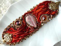 Bead embroidered cuff  bracelet RHODOCHROSITE Cabochon Shibori silk ribbon Beadwork seed beaded jewelry OOAK Christmas gift