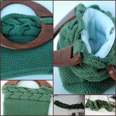Bolso punto y crochet.. Asas de madera, forada en tela 100% algodón  y con cierre a pressión.