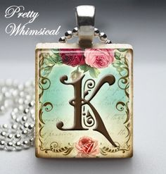 Personalized Jewelry  Victorian Initial K  by prettywhimsical, $7.95