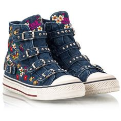 Ash - VIRTU Denim floral embellished cone studded straps high top... (€175) ❤ liked on Polyvore featuring shoes, sneakers, denim, studded sneakers, high top shoes, blue sneakers, flower print sneakers and ash sneakers