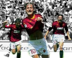 esultanza Totti ,il giorno della vittoria dello Scudetto