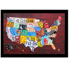 License Plate Map of the US Print (24-inch x 36-inch) with Traditional Black…