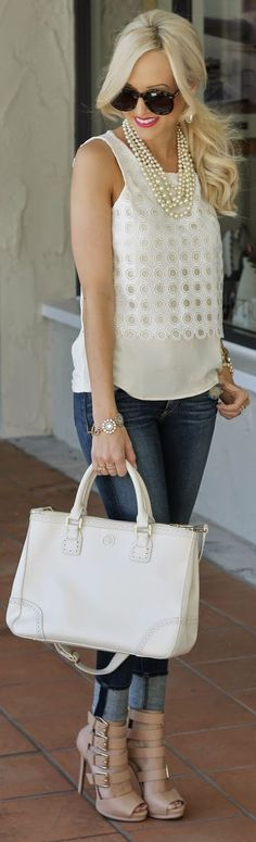 Ann Taylor white Eyelet Shell overlay Sleeveless Tank Top... adore the Pearls