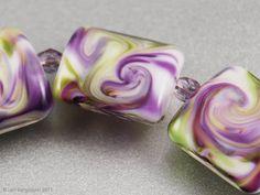 """Spring Violet Swirls"" - Handmade Lampwork Beads Glass by www.LoriBergmann.etsy.com"