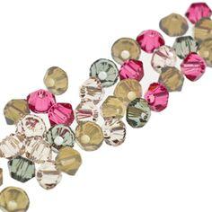5328 3mm Swarovski Elements Crystal Mix - Lace   Fusion Beads. black diamond, indian pink, light grey opal, sand opal, and silk.