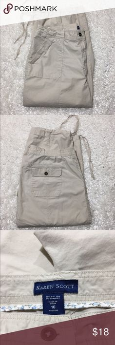 Karen Scott Capris Great pair of Capris with cargo patch pockets on the front and back. Gusseted waist band for comfort, draw string legs. Excellent pre-loved condition. From Dillard's. Karen Scott Pants Capris