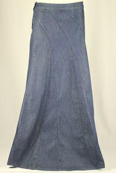 Navy Darling Long Jean Skirt