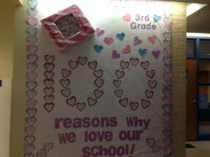 100 days of school and valentines day bulletin board.