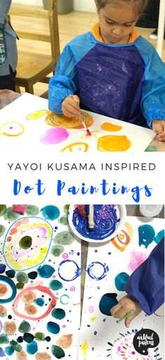 dot day art projects Create amazing and colorful dot paintings inspired by Japanese artist Yayoi Kusama. Project & post by Catalina Gutierrez of Redviolet Studio. Yayoi Kusama, Dot Painting, Painting For Kids, Artists For Kids, Art For Kids, Projects For Kids, Art Projects, Kids Crafts, Rules For Kids