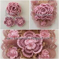 Silvia Gramani Crochê: Cachecol Deusa Irish Crochet, Easy Crochet, Crown Jewels, Crochet Flowers, Crochet Necklace, Bouquet, The Incredibles, Inspiration, Stitches