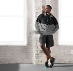 Men's Life on the Run Collection. Featured: Track Star Hoodie, Fast Track Short, Triumph ISO 2