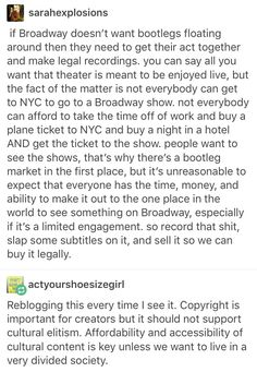 I'm not saying bootlegging is right, but PLEASE sell recordings. Since theatre is so much better live, as you say, I'll still go to the shows when I can!