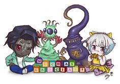 """Chibitech  Main characters (Terra, Melmak, Nyarlathotep and Gracielle) of our adventure inspired in """"Cthulhutech"""" role playing game univers thanking to master and gamers to bring them to life :) The most exciting journey of a lifetime!"""