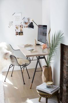 Boho chic modern office space: http://www.stylemepretty.com/living/2016/11/04/a-parisian-inspired-minimal-guest-bedroom/ Photography: Carol Vaziri - http://carolvaziri.com/