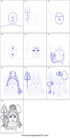 How to Draw Lord Shiva Face Printable Drawing Sheet by DrawingTutorials101.com
