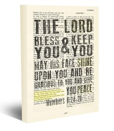 The Lord Bless you & keep you May his face shine upon you - Number 6:24-26 Vintage Bible page verse scripture - Christian wrapped art CANVAS, prayer blessing dictionary wall & home decor. This reproduction wrapped CANVAS of a highlighted King James Bible scripture is sure to make a great gift for someone. We scan real pages from old Bibles (thus they have slight flaws and aging such as bleeding words from the other side, because the pages are so thin), which just adds to the character…