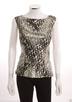 THE LIMITED SCOOP NECK SLEEVELESS ABSTRACT PATTERN STITCHED SIDE ZIP BLOUSE SZ M
