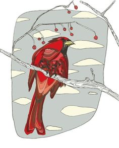 Cardinal Print, Bird Art, Nature Art by Gingiber on Etsy