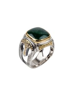 a81159ad454b Men s Aventurine Sterling Silver Signet Ring with 18k Gold Accents