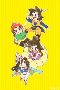 Goten, Gohan, Goku & Chichi