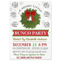 Christmas Bunco Party Invitation - tap/click to personalize and buy #christmas #party #holiday #party #invite Christmas Themes, Christmas Holidays, Christmas Parties, Christmas Decorations, Bunco Party, Host A Party, Ladies Night Party, Cocktail Party Themes, Christmas Party Invitations