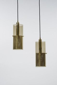 Hans Agne Jakobsson; Brass and Glass Ceiling Lights, c1970.
