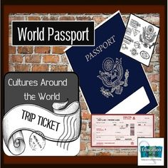 """Includes a template with directions for creating the passport and creating a Cultures Around the World Day. This template is designed to be printed and the outside glued to blue construction paper. The rest creates the inside of the passport book. Students carry the book from class to class visiting different """"countries"""" and participating in crafts, learning customs, and sampling food."""