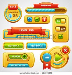 Game user interface elements (buttons, progress bar, icons and fields for game)