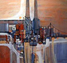 """Martin Procter does beautiful semi-abstract oils, thickly laid, often to overlaying collage - news print, paper etc. This is one of my favourites - """"Battersea Abstract Landscape, Landscape Paintings, Abstract Art, Abstract Paintings, City Painting, Building Art, Sketchbook Inspiration, Modern City, Retro Art"""