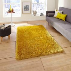 Fjørde & Co Shaggy-Teppich Rochdale in Gelb Yellow Rug, White Rug, High Pile Rug, Shaggy Rug, Rug Texture, Red Rugs, Pink Rugs, Machine Made Rugs, Living Room Carpet