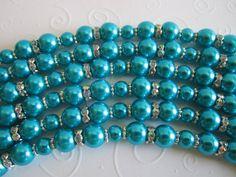 Deep Aqua Blue Bridesmaid Bracelet and Earrings Set/Caribbean Blue Bridesmaid Bracelet and Earrings Set/Bridesmaid Gift/Wedding Party. on Etsy, $20.00