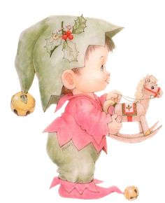Ruth Morehead artist ~ Christmas elf ~ rocking horse toy