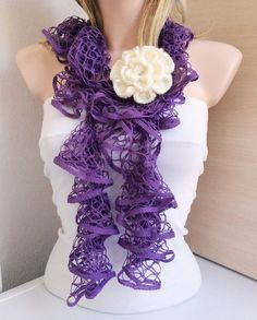 Lilac Color Web lace Handmade Crochet Scarf  Gift with by Periay