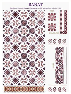 Beading _ Pattern - Motif / Earrings / Band ___ Square Sttich or Bead Loomwork ___ model de iie din BANAT Cross Stitch Borders, Cross Stitch Designs, Cross Stitching, Cross Stitch Patterns, Folk Embroidery, Cross Stitch Embroidery, Embroidery Patterns, Bordado Popular, Traditional Design