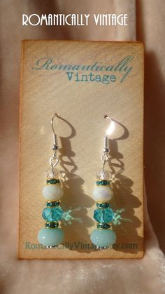 Bridal Wedding Something Blue Earrings by RomanticallyVintage, $28.50