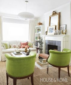 Small Space. Big Impact. Green Chairs. Margot Austin's Living Room | House & Home