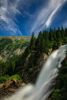 The Krimmi Waterfalls (German:  Krimmler Wasserfalle), with a total height of 380 metres (1,247 feet), are the highest waterfall in Austria.  The falls are on the Krimmler Ache River and are located near the village of Krimmi in the High Tauern National Park in Salzburg state.