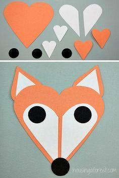 Heart Fox ~ Simple Valentine's Craft for Kids - Bastelideen Kinder - Valentines Day Fox Crafts, Valentine's Day Crafts For Kids, Daycare Crafts, Animal Crafts, Toddler Crafts, Preschool Crafts, Art For Kids, Arts And Crafts, Kids Diy