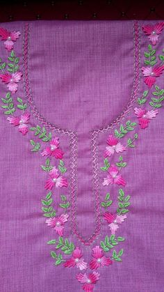 Embroidery Hand Embroidery Design Patterns, Hand Embroidery Videos, Embroidery Stitches Tutorial, Hand Work Embroidery, Embroidery Flowers Pattern, Creative Embroidery, Sewing Patterns, Kutch Work Designs, Kurti