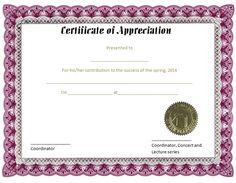 certificate of appreciation template free