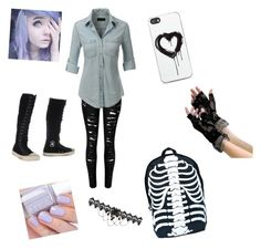"""""""school day for Hailey"""" by emo-neko-girl045 on Polyvore featuring beauty, LE3NO, Zero Gravity, Comeco, Converse and Essie"""