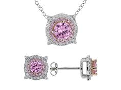 Bella Luce(R)3.74ctw Pink & White Diamond Simulants Rhodium Over Silver Earrings/ Pendant With Chain
