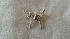 Sterling Silver Butterfly Brooch / Pin with Marcasites  & Inlays #Unbranded