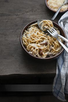 Spaghetti and mushrooms. A classic combination that never goes out of style.