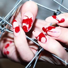 Score this bloody spill nail art look w/ @JINSOONCHOI: 1. Apply base coat 2. Apply 2 coats Nostalgia. 3. Drip Coquette! #Halloween #JINsoon