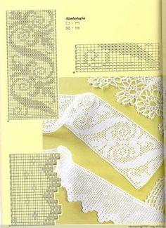 Filet crochet edging looks great on hemlines and as cabinet decor. Crochet Lace Edging, Crochet Borders, Crochet Art, Thread Crochet, Crochet Doilies, Easy Crochet, Crochet Stitches, Filet Crochet Charts, Crochet Diagram