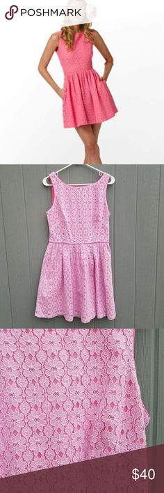 """Lilly Pulitzer Aleesa Cut Out Lace Dress Size 10. Small busted seam under armpit,  easy fix. 21"""" chest,  15.5"""" waistline,  36"""" long.   Sorry we're not sorry with this one. Irresistible. Amazing. Mind-blowing, if you will. And you're gonna have to buy it every way it comes, too. Oh, you haven't even see the cutout on the back yet? Ha! Whoops. We just hadta!   Sleeveless boatneck dress with full skirt and cutout detail on back. 18"""" from natural waist to hem. Dry clean only. Fine lt wt daisy…"""