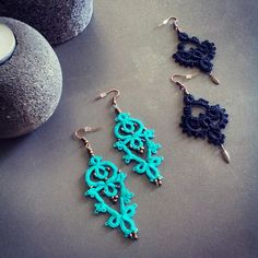 Blue and black lace earrings